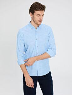 Mavi Slim Fit Pamuklu Gömlek 0S7642Z8 LC Waikiki