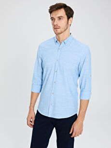 %100 Pamuk Dar Düz Uzun Kol Gömlek Düğmeli Slim Fit Pamuklu Gömlek