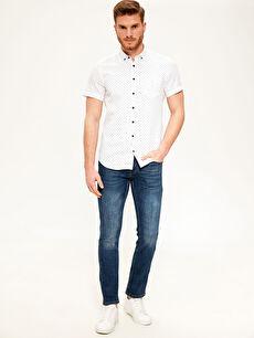%100 Pamuk Slim Fit Desenli Kısa Kollu Gömlek