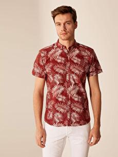 Kırmızı Slim Fit Desenli Kısa Kollu Gömlek 0S8145Z8 LC Waikiki