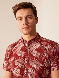 %100 Pamuk Dar Patlı Kısa Kol Düğmeli Gömlek Yaka Poplin Gömlek Baskılı Slim Fit Desenli Kısa Kollu Gömlek