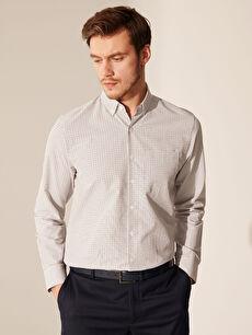%55 Pamuk %45 Polyester Gömlek Ekose Standart Uzun Kol Düğmeli Gömlek Yaka Poplin Regular Fit Ekose Poplin Gömlek
