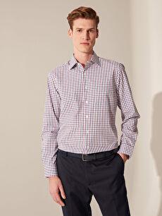 %55 Pamuk %45 Polyester Normal Ekoseli Uzun Kol Gömlek Düğmesiz Regular Fit Armürlü Ekose Gömlek