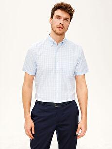 %72 Pamuk %28 Polyester Ekoseli Kısa Kol Gömlek Düğmeli Normal Regular Fit Kısa Kollu Ekose Gömlek