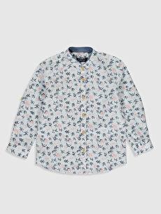 Beyaz Aile Koleksiyonu Erkek Çocuk Desenli Pamuklu Gömlek 0S8736Z4 LC Waikiki