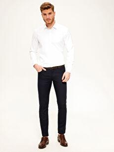 %97 Pamuk %3 Elastan %100 Poliüretan Normal Bel Dar Pilesiz Pantolon Slim Fit Armürlü Pantolon