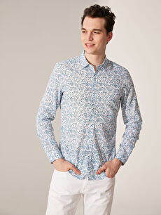 Lacivert Ekstra Slim Fit Desenli Gömlek 0SG625Z8 LC Waikiki