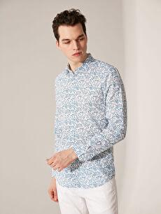 %100 Pamuk Uzun Kol Baskılı En Dar Gömlek Düğmesiz Ekstra Slim Fit Desenli Gömlek