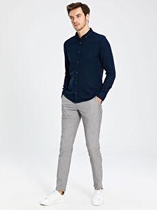 %64 Polyester %2 Elastan %34 Viskon Dar Normal Bel Pilesiz Pantolon Slim Fit Poliviskon Pantolon