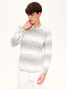 %100 Pamuk Çizgili En Dar Uzun Kol Gömlek Düğmeli Ekstra Slim Fit Çizgili Gömlek