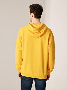 Erkek Nasa Baskılı Kapüşonlu Kalın Sweatshirt