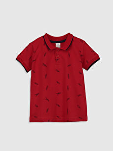 Kırmızı Aile Koleksiyonu Erkek Bebek Baskılı Polo Yaka Tişört 0SO568Z1 LC Waikiki