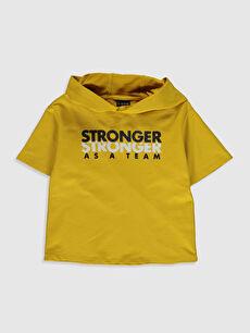 Sarı Aile Koleksiyonu Erkek Çocuk Kısa Kollu Sweatshirt 0SO570Z4 LC Waikiki