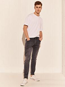 %85 Pamuk %13 Polyester %2 Elastan Normal Bel Jean Dar 750 Slim Fit Jean Pantolon