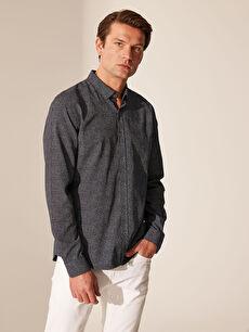 %100 Pamuk Dar Baskılı Uzun Kol Gömlek Düğmeli Slim Fit Desenli Oxford Gömlek