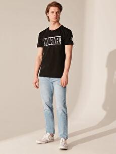 LC Waikiki Siyah Marvel Baskılı Beşiktaş Amblemli Tişört
