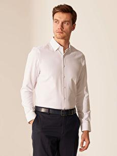 %55 Pamuk %45 Polyester Uzun Kol Düz Gömlek Yaka Dar Gömlek Slim Fit Armürlü Gömlek
