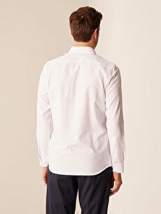 %55 Pamuk %45 Polyester Slim Fit Armürlü Gömlek
