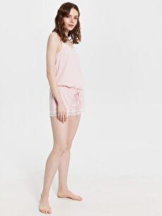 %48 Pamuk %52 Polyester Pijamalar Standart Dantel Detaylı Askılı Şortlu Tulum