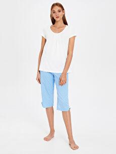 Mavi Puantiyeli Pamuklu Pijama Takımı 0S2123Z8 LC Waikiki