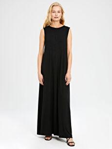 Düz Uzun Viskon Elbise