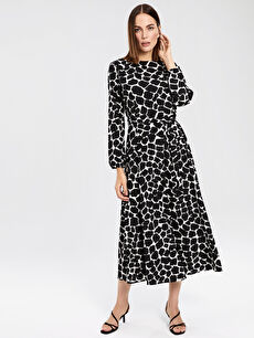 Siyah Desenli Kuşaklı Krep Elbise 0S6904Z8 LC Waikiki
