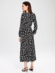 Kadın Desenli Kuşaklı Krep Elbise