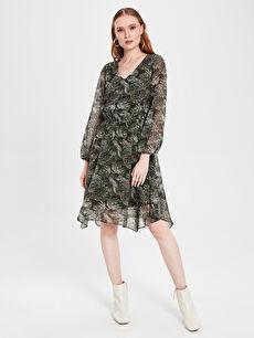 Desenli Asimetrik Şifon Elbise