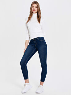 %85 Pamuk %13 Polyester %2 Elastan Normal Bel Esnek Dar Jean Bilek Boy Push Up Jean Pantolon
