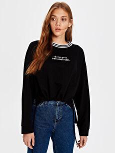 Siyah Slogan Baskılı Sweatshirt 0S8795Z8 LC Waikiki