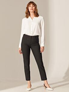 %78 Polyester %3 Elastan %19 Viskon Normal Bel Esnek Cigarette Pantolon Bilek Boy Cigarette Pantolon