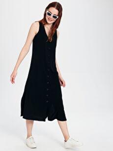 Siyah V Yaka Viskon Kolsuz Elbise 0SG643Z8 LC Waikiki