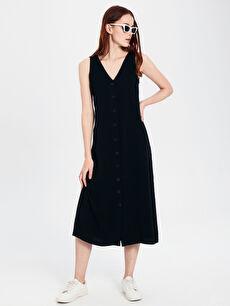 %100 Viskoz Günlük Shift Düz Midi Elbise Kolsuz Standart V Yaka Viskon Kolsuz Elbise