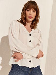 %100 Viskoz V Yaka Bluz Uzun Kol Düz Standart Bluzan Tam Pat Standart Dokulu Kumaştan V Yaka Viskon Gömlek