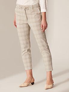 Kadın Beli Lastikli Desenli Havuç Pantolon