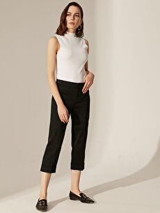 %69 Pamuk %27 Polyester %4 Elastan Normal Bel Esnek Standart Pantolon Kısa Paça Esnek Kumaş Pantolon
