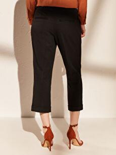 %65 Polyester %30 Viskoz %5 Elastan Bilek Boy Düz Paça Kumaş Pantolon