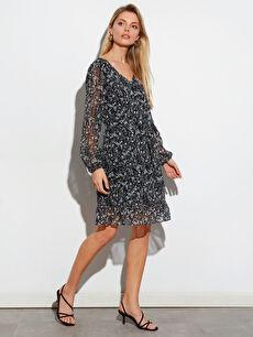 Diz Üstü Desenli Uzun Kollu Elbise