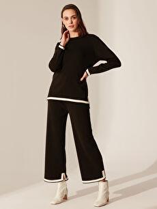 %100 Akrilik Normal Bel Triko Geniş Paça Lastikli Bel Pantolon Şerit Detaylı Triko Pantolon