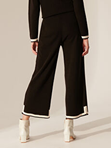 %100 Akrilik Şerit Detaylı Triko Pantolon