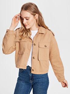 %100 Pamuk Kısa Orta Ceket Düğme Detaylı Jean Ceket