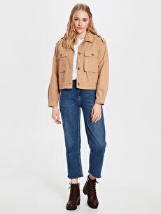 Kadın Düğme Detaylı Jean Ceket
