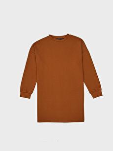 Kahverengi Düz Salaş Oversize Sweatshirt