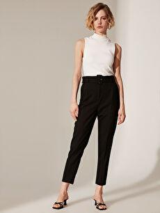 %64 Polyester %33 Viskon %3 Elastan Havuç Kesim Pantolon Düz Bilek Boy Yüksek Bel Bilek Boy Kemerli Havuç Pantolon