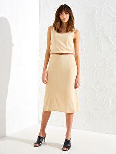 %100 Polyester U Yaka Düz Midi Kolsuz Ofis/Klasik Standart Elbise Kemerli İnce Triko Elbise