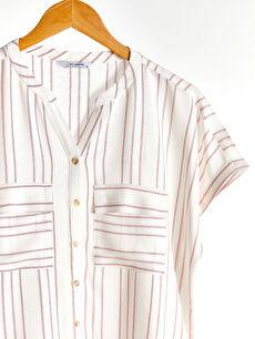 Kadın Çizgili Viskon Gömlek