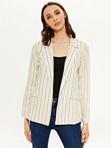 Keten Görünümlü Oversize Ceket İnce Bol Uzun Kol Basen Altı Ceket Yaka Çizgili Çizgili Blazer Ceket