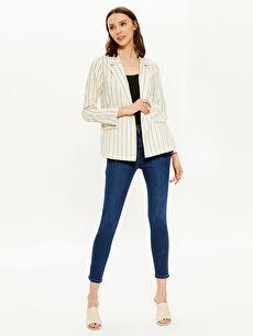 Kadın Çizgili Blazer Ceket