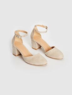 %0 Tekstil malzemeleri (%100 poliester)  Kadın Süet Topuklu Ayakkabı