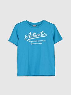 Turkuaz Erkek Çocuk Yazı Baskılı Pamuklu Tişört 0S0739Z4 LC Waikiki